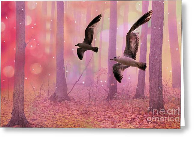 Surreal Fairytale Fantasy Nature Bird Woodland Landscape Greeting Card by Kathy Fornal