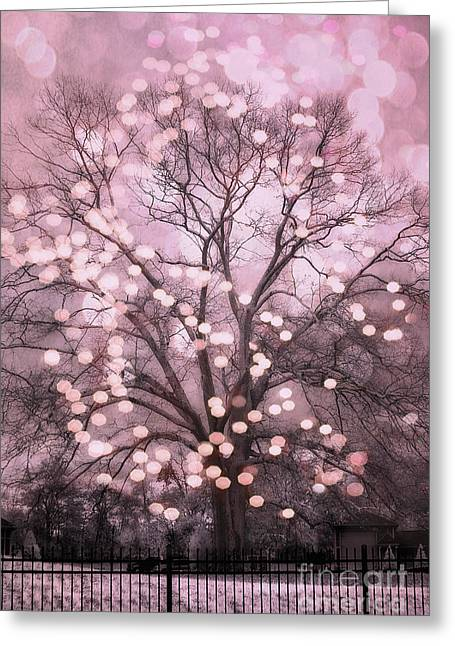 Tree Art Greeting Cards - Surreal Fairytale Pink Nature Trees Fairy Lights Bokeh Nature Decor - Pink Holiday Fairy Lights Tree Greeting Card by Kathy Fornal