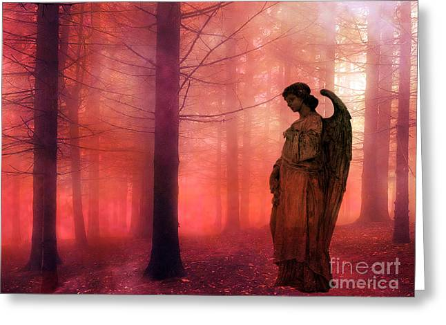 Surreal Fantasy Angel In Foggy Red Woodlands Greeting Card by Kathy Fornal