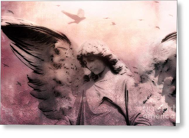 Angel Art Greeting Cards - Surreal Fantasy Angel With Large Wings - Spiritual Ethereal Angel Art Greeting Card by Kathy Fornal
