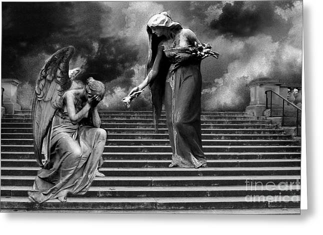 Gothic Fantasy Greeting Cards - Surreal Fantasy Angels Weeping Black and White Print - Angels Cry Too Greeting Card by Kathy Fornal