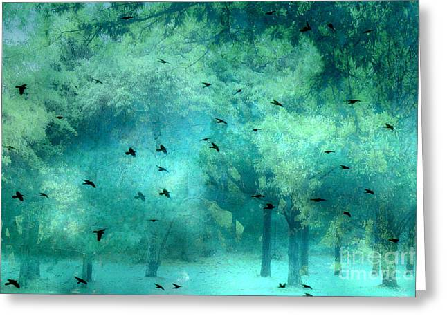 Surreal Photography Of Ravens Greeting Cards - Surreal Fantasy Aqua Teal Woodlands Trees With Ravens Flying Greeting Card by Kathy Fornal