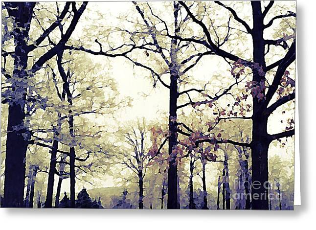 Fantasy Tree Art Greeting Cards - Surreal Fantasy Blue Purple Yellow Nature Woodlands Greeting Card by Kathy Fornal