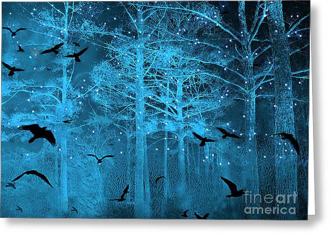Haunting Greeting Cards - Surreal Fantasy Blue Woodlands Ravens and Stars - Fairytale Fantasy Blue Nature With Flying Ravens Greeting Card by Kathy Fornal