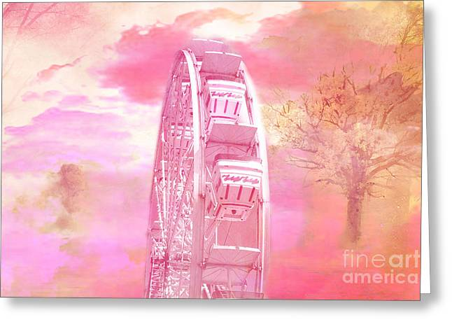 Ferris Greeting Cards - Surreal Fantasy Carnival Festival Fair Pink Yellow Ferris Wheel  Greeting Card by Kathy Fornal