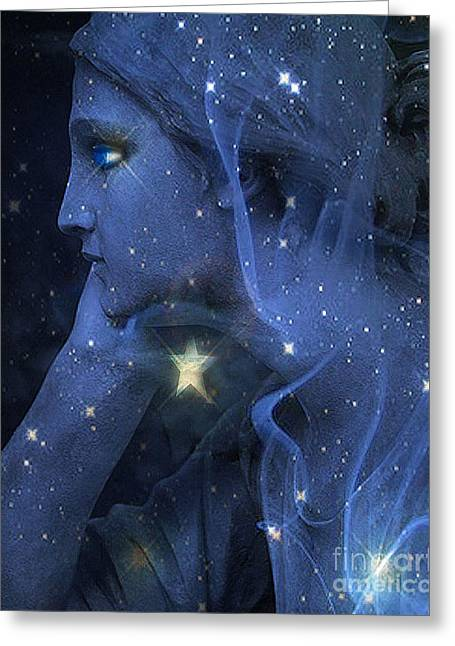 Haunting Greeting Cards - Surreal Fantasy Celestial Blue Angelic Face With Stars Greeting Card by Kathy Fornal