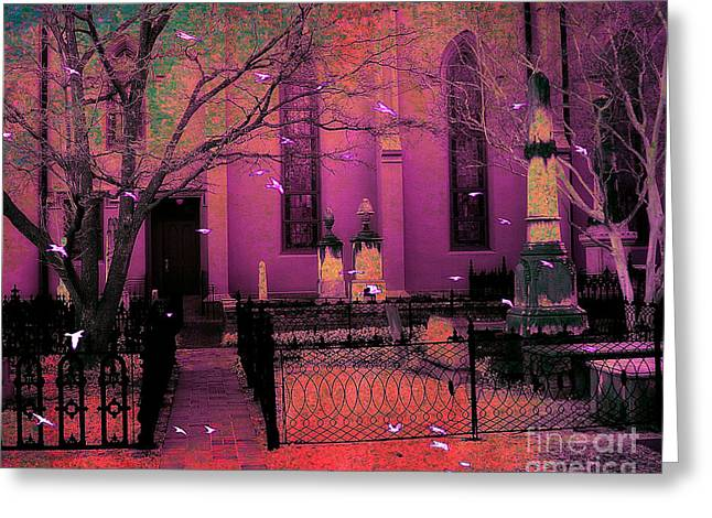 Gothic Surreal Greeting Cards - Surreal Fantasy Civil War Cemetery Graveyard Greeting Card by Kathy Fornal