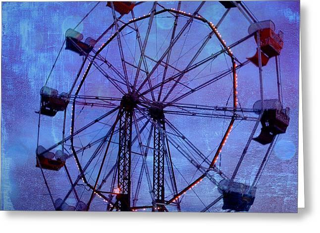 Dark Blue Greeting Cards - Surreal Fantasy Dark Blue Ferris Wheel Night Sky Greeting Card by Kathy Fornal