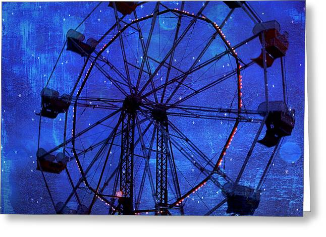 Festivals Fairs Carnival Photos Greeting Cards - Surreal Fantasy Dark Blue Ferris Wheel Starry Night  Greeting Card by Kathy Fornal