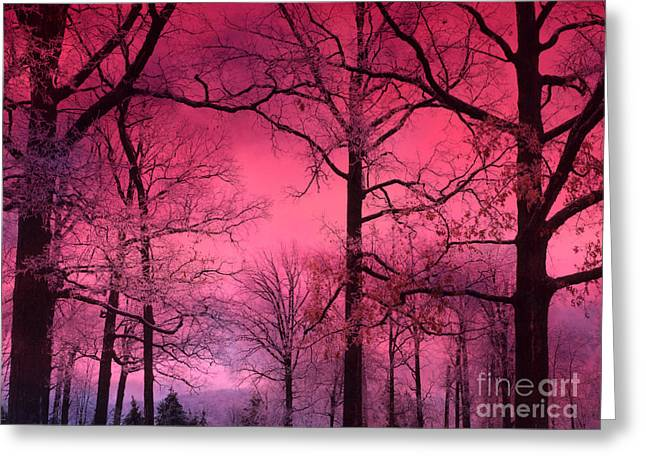 Fantasy Tree Photographs Greeting Cards - Surreal Fantasy Dark Pink Forest Woodlands Trees With Dark Pink Haunting Sky - Fantasy Pink Nature  Greeting Card by Kathy Fornal