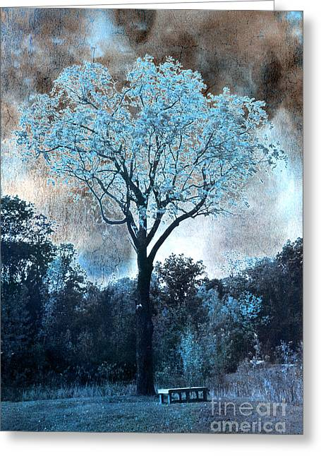 Eerie Greeting Cards - Surreal Fantasy Dreamy Blue Fairytale Tree Nature Landscape - Surreal Solarized Blue Trees Greeting Card by Kathy Fornal