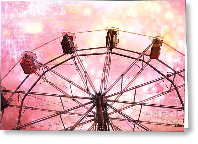 Ferris Greeting Cards - Surreal Fantasy Dreamy Pink and Yellow Carnival Ferris Wheel Ride Greeting Card by Kathy Fornal