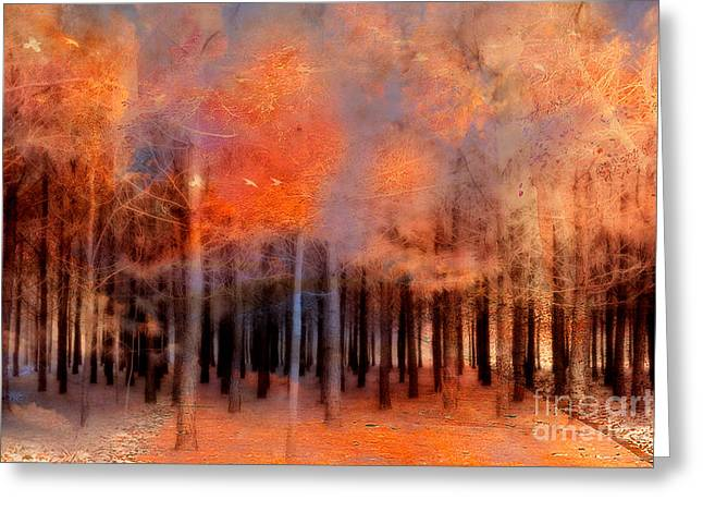Surreal Fantasy Ethereal Trees Autumn Fall Orange Woodlands Nature  Greeting Card by Kathy Fornal