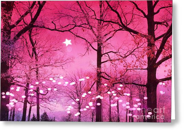 Fantasy Tree Greeting Cards - Surreal Fantasy Fairytale Dark Pink Haunting Woodlands Nature With Stars and Twinkling Lights Greeting Card by Kathy Fornal