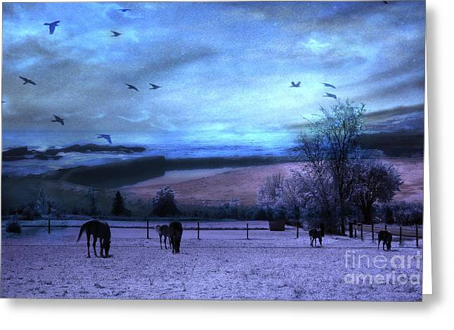 Pasture Framed Prints Greeting Cards - Surreal Fantasy Fairytale Horse Landscapes - Fairytale Blue Skies Greeting Card by Kathy Fornal