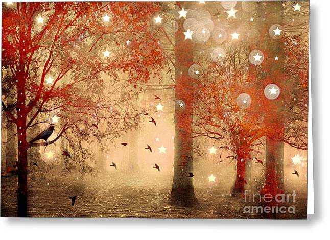 Photographs With Red. Photographs Greeting Cards - Surreal Fantasy Fairytale Nature Autumn Fall Forest Woodlands Gothic Raven Greeting Card by Kathy Fornal