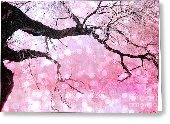 Tree Limbs Greeting Cards - Surreal Fantasy Fairytale Pink and Black Nature Haunting Tree Limbs - Pink Bokeh Circles Greeting Card by Kathy Fornal