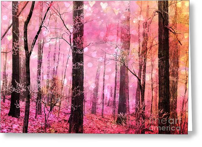 Fairytale Greeting Cards - Surreal Fantasy Fairytale Pink Forest Woodlands - Pink Fairytale Fantasy Woodlands  Greeting Card by Kathy Fornal