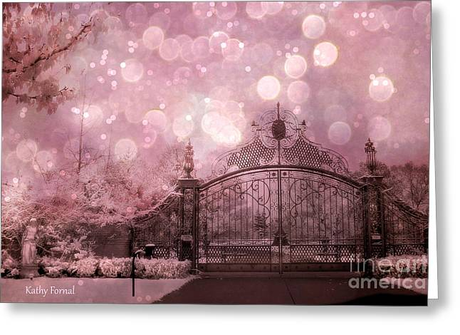 Fantasy Art Greeting Cards - Surreal fantasy Fairytale Pink Nature Haunting Gothic Gate and Bokeh Circles Greeting Card by Kathy Fornal