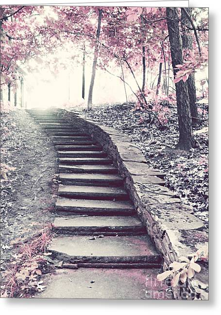 Surreal Pink Nature Prints By Kathy Fornal Greeting Cards - Surreal Fantasy Fairytale Pink Trees and Ethereal Woodlands Staircase  Greeting Card by Kathy Fornal