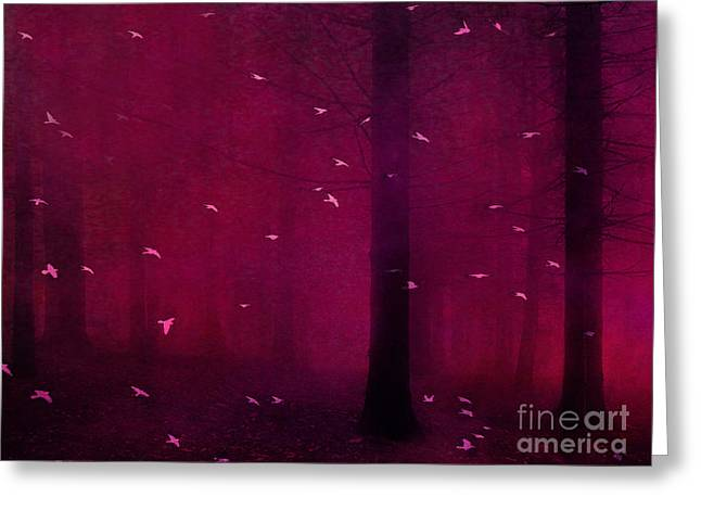 Surreal Pink Nature Prints By Kathy Fornal Greeting Cards - Surreal Fantasy Forest Woodlands With Birds Greeting Card by Kathy Fornal