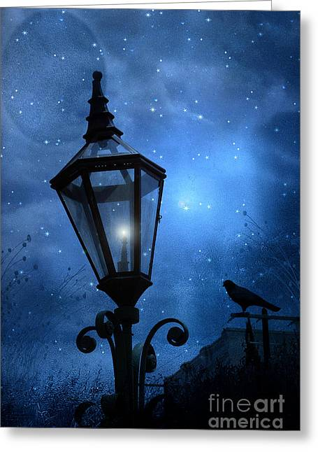 Crow Art Greeting Cards - Surreal Fantasy Gothic Blue Night Lantern With Ravens - Starry Night Surreal Lantern Blue Moon Greeting Card by Kathy Fornal