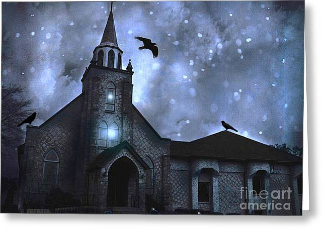 Surreal Gothic Church With Ravens Greeting Cards - Surreal Fantasy Gothic Church With Ravens Flying - Church Blue Winter Night Greeting Card by Kathy Fornal