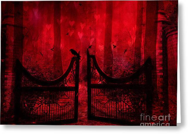 Fantasy Tree Photographs Greeting Cards - Surreal Fantasy Gothic Red Forest Crow On Gate Greeting Card by Kathy Fornal