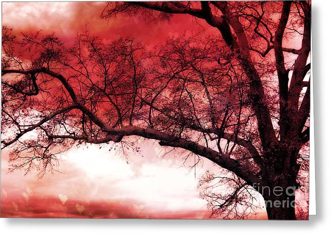 Surreal Fantasy Trees Landscape Greeting Cards - Surreal Fantasy Gothic Red Tree Landscape Greeting Card by Kathy Fornal