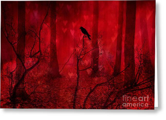 Crow Art Greeting Cards - Surreal Fantasy Gothic Red Woodlands Raven Trees Greeting Card by Kathy Fornal