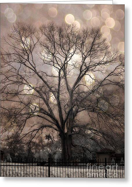 Fantasy Tree Photographs Greeting Cards - Surreal Fantasy Gothic South Carolina Sepia Oak Trees and Fantasy Bokeh Circles Greeting Card by Kathy Fornal
