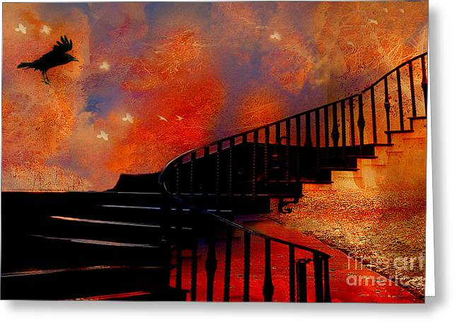 Surreal Fantasy Gothic Black Staircase With Flying Ravens - Surreal Orange Black Fantasy Art Greeting Card by Kathy Fornal