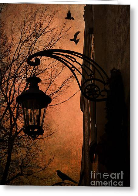 Street Lantern Greeting Cards - Surreal Fantasy Gothic Street Lantern With Crows and Ravens Greeting Card by Kathy Fornal