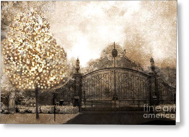 Surreal Dreamy Nature Photos Greeting Cards - Surreal Fantasy Haunting Gate With Sparkling Tree Greeting Card by Kathy Fornal