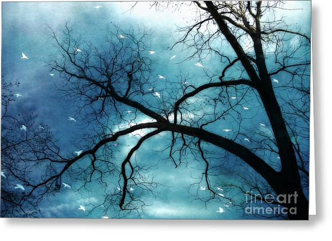 Gothic Trees Greeting Cards - Surreal Fantasy Haunting Gothic Tree With Birds Greeting Card by Kathy Fornal