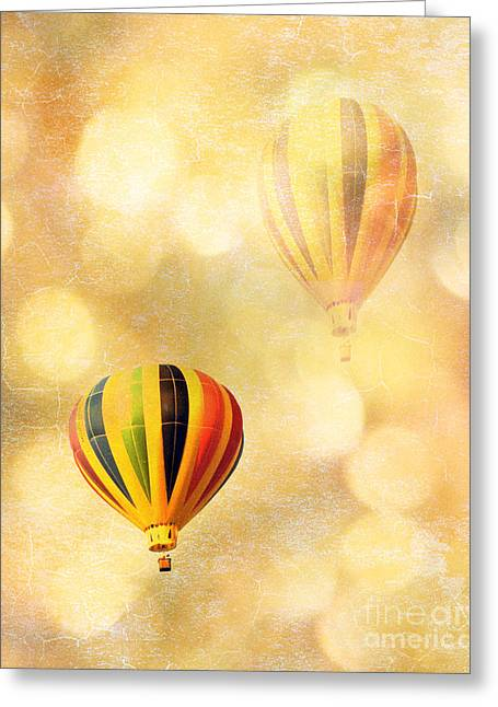 Hot Pink Ferris Wheel Photos Greeting Cards - Surreal Fantasy Hot Air Balloon Dreamy Yellow Balloon Festival Art Greeting Card by Kathy Fornal