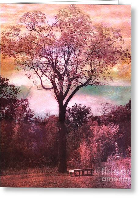 Surreal Fantasy Trees Landscape Greeting Cards - Surreal Fantasy Nature Tree Pink Landscape Greeting Card by Kathy Fornal
