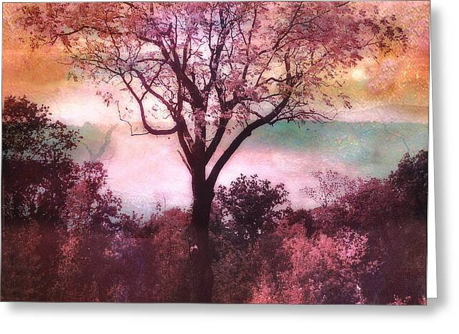 Surreal Fantasy Nature Tree Pink Landscape Greeting Card by Kathy Fornal