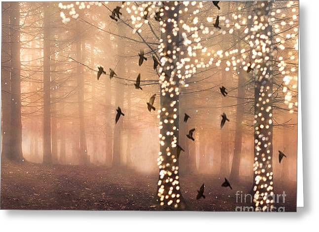 Surreal Dreamy Nature Photos Greeting Cards - Surreal Fantasy Nature Trees Woodlands Forest Sparkling Lights Birds and Trees Nature Landscape Greeting Card by Kathy Fornal