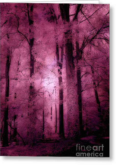Surreal Dreamy Nature Photos Greeting Cards - Surreal Fantasy Pink Forest Woodlands Greeting Card by Kathy Fornal