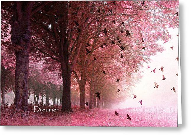 Surreal Pink Nature Prints By Kathy Fornal Greeting Cards - Surreal Fantasy Pink Nature Forest Woods With Birds Flying  Greeting Card by Kathy Fornal