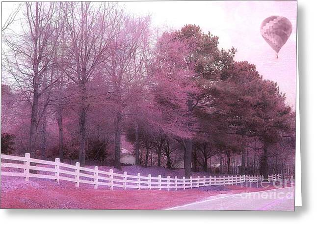 Nature Surreal Fantasy Print Greeting Cards - Surreal Fantasy Pink Nature Country Road With Hot Air Balloon Greeting Card by Kathy Fornal