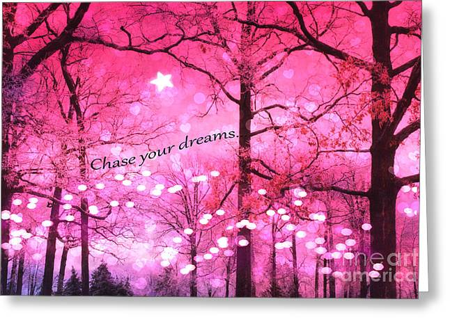 Dark Pink Greeting Cards - Surreal Fantasy Pink Nature With Inspirational Message - Hot Pink Sparkling Twinkling Lights Trees Greeting Card by Kathy Fornal