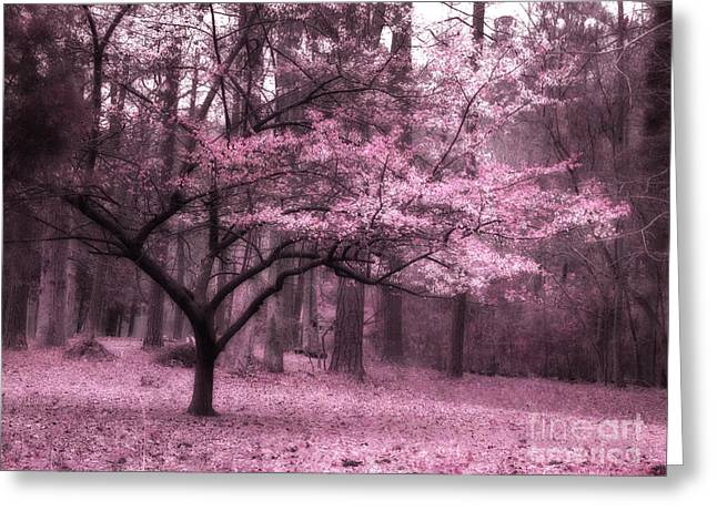Dark Pink Greeting Cards - Surreal Fantasy Pink Trees Nature Landscape Greeting Card by Kathy Fornal