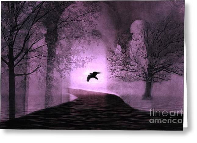 Gothic Crows Greeting Cards - Surreal Fantasy Purple Nature Trees With Raven Flying Into Light Greeting Card by Kathy Fornal