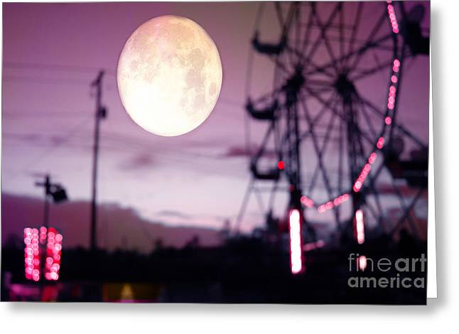 Surreal Fantasy Purple Night Ferris Wheel Full Moon  Greeting Card by Kathy Fornal