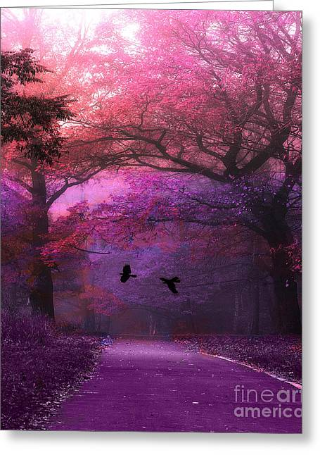Surreal Dreamy Nature Photos Greeting Cards - Surreal Fantasy Purple Pink Autumn Fall Nature Woodlands - Purple Woodlands With Flying Ravens Greeting Card by Kathy Fornal