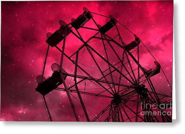 Carnival Fun Festival Art Decor Greeting Cards - Surreal Fantasy Red and Pink Ferris Wheel Carnival Ride With Stars Greeting Card by Kathy Fornal
