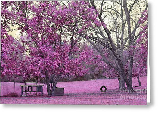 Surreal Pink Nature Prints By Kathy Fornal Greeting Cards - Surreal Fantasy South Carolina Pink Fall Landscape With Swing Greeting Card by Kathy Fornal