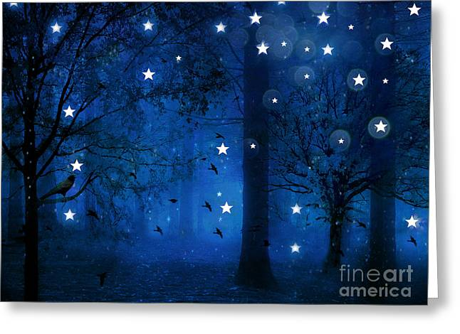 Fantasy Art Greeting Cards - Surreal Fantasy Sparkling Blue Woodlands Forest Trees With Stars - Starlit Fantasy Nature Greeting Card by Kathy Fornal